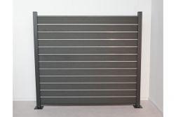 Komplettset WPC Zaun /  Sichtschutz / Steckzaun, anthrazit 1690 mm (Höhe) 20 mm (Stärke) x 1800 (Breite) mm, Zaunhöhe inkl. Start und Abschlussprofil mit Alumittelschiene (Serie WoodoAmmeland ohne Pfosten)