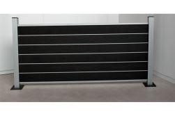 Komplettset WPC Zaun /  Sichtschutz / Steckzaun, anthrazit / silber eloxiert 900 mm (Höhe) 20 mm (Stärke) x 1800 (Länge) mm, Zaunhöhe inkl. Start und Abschlussprofil mit Alumittelschiene (Serie WoodoAmmeland ohne Pfosten)