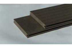 BPC Massivdiele WoodoAthen, 19 x 140 mm, beidseitig begehbar, geriffelt / glatt, dunkelbraun, in der Länge 4 m