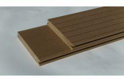 BPC Massivdiele WoodoAthen, 19 x 140 mm, beidseitig begehbar, geriffelt / glatt, sandfarbend, in der Länge 4 m