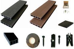 WPC Komplettset WoodoBasic Plus in braun oder anthrazit beinhaltet WPC Diele, Unterkonstruktion, Metallclips, Starter-/ Endclip, Sicherungsband, Befestigungsset und Terrassendpads
