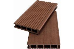 WPC Hohlkammerdiele WoodoKorfu, 20 x 120 mm, 3 Meter lang, rehbraun, geriffelt / glatt, beidseitig begehbar