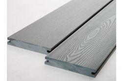 BPC Massivdiele, 20 (Stärke) x 120 mm (Breite), einseitig glatt gebürstet / einseitig Holzoptik, grau, 4 m