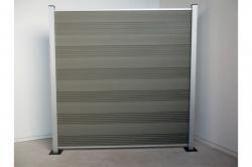 Komplettset WPC Zaun / Sichtschutz / Steckzaun, grau / silber eloxiert 1850 mm (Höhe) x 20 mm (Stärke) x 1800 (Breite) mm, Zaunhöhe inkl. Start und Abschlussprofil (Serie WoodoTexel ohne Pfosten)