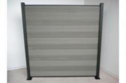 Komplettset WPC Zaun / Sichtschutz / Steckzaun, grau 1850 mm (Höhe) x 20 mm (Stärke) x 1800 (Breite) mm, Zaunhöhe inkl. Start und Abschlussprofil (Serie WoodoTexel ohne Pfosten)