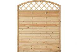 Sichtschutzzaun Holz Bogen mit Gitter  Kiefer/Fichte 150 x 180/160 cm (Serie Baltrum)